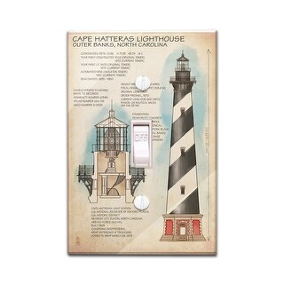 Outer Banks, North Carolina - Cape Hatteras Lighthouse Technical - Lantern Press Artwork (Light Switchplate Cover)