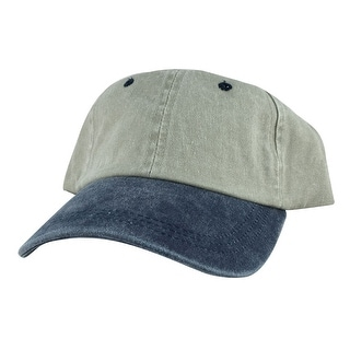Style Plain Washed Unstructured Vintage Strapback Hat Dad Cap - Washed Creamy Navy Blue - Beige