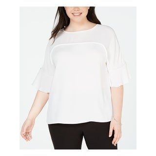 BAR III Womens White 3/4 Sleeve Jewel Neck Top  Size 2X