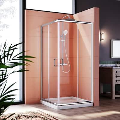 ELEGANT Framed Sliding Corner Shower Enclosure Door in Chrome