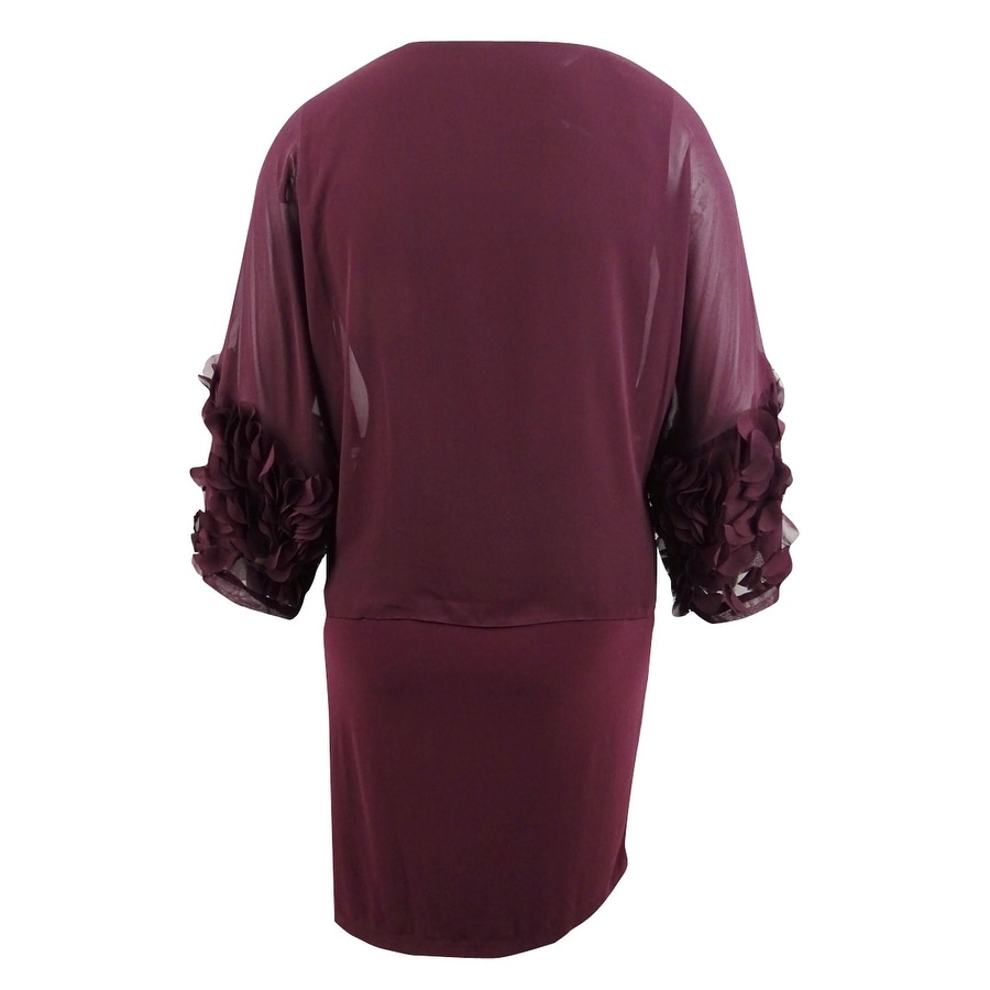 SL Fashions Women\'s Plus Size Chiffon-Rosette Popover Dress - Fig