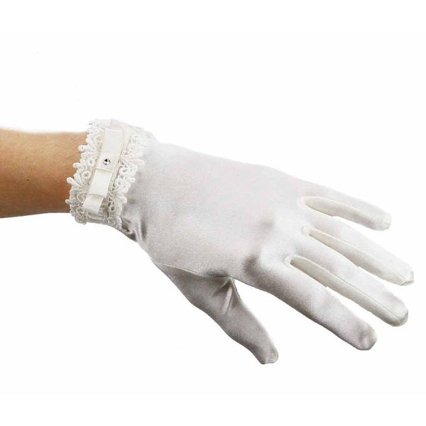 Clotted Cream Satin Stretch Gloves with Lace and Bow