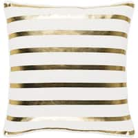 "18"" Snow White and Rich Gold Decorative Metallic Stripes Woven Holiday Throw Pillow Cover"