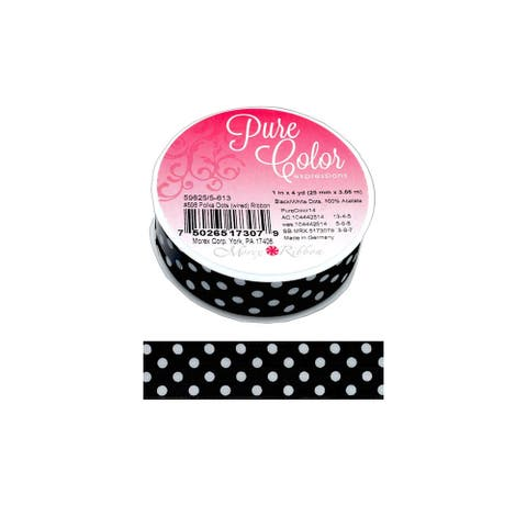 """Morex Ribbon Wire Polka Dots 1""""x 4yd Black"""