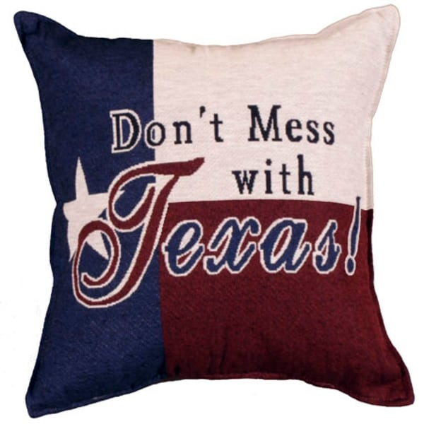 "Set of 2 red, blue and white ""Don't mess with Texas!"" pillows 17"" x 17"""