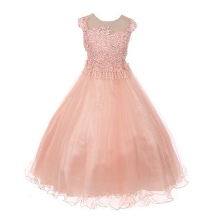 Chic Baby America Girls Blush Lace Tulle Junior Bridesmaid Dress