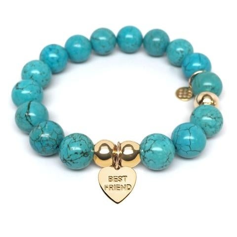 Julieta Jewelry Best Friend Heart Charm Turquoise Magnesite Bracelet