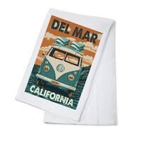 Del Mar, CA - VW Van Letterpress - LP Artwork (100% Cotton Towel Absorbent)