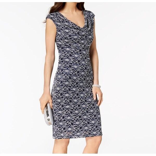 Cowl Neck Sheath Dresses: Shop Connected Apparel White Womens Cowl Neck Sheath Dress