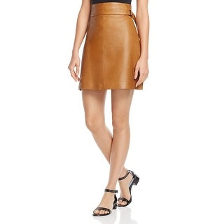French Connection Womens A-Line Skirt Leather Above Knee
