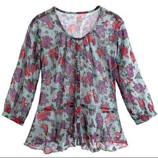 Women's Floral Blouse - Sheer Purple Peplum 3/4 Sleeves Button Down