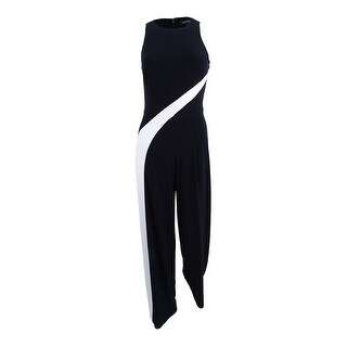 Lauren by Ralph Lauren Women's Wide-Leg Jersey Jumpsuit - BLACK/WHITE