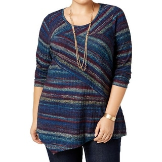 NY Collection Womens Plus Tunic Top Striped Asymmetrical - 2x