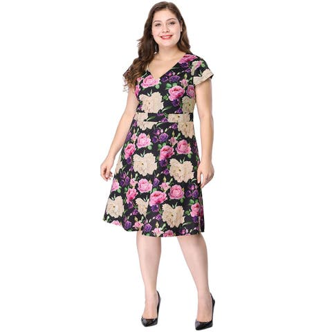 Women's Plus Size Above Knee Cap Sleeve V Neck Floral Dress - Black