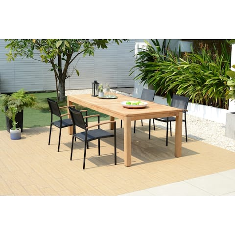 Lifestyle Garden 5-Piece Teak Rectangular Outdoor Wood Dining Set