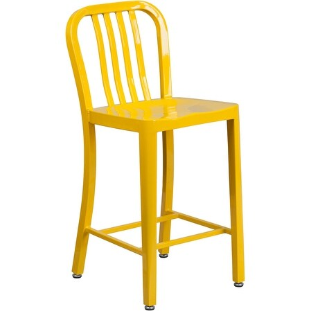 Shop Brimmes 25 High Metal Counter Stool Yellow Wvertical Slat