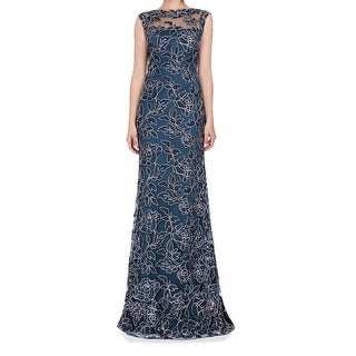 Tadashi Shoji Blue Womens Size 4 Floral Lace Scallop Gown Dress