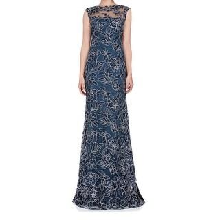 Tadashi Shoji Womens Floral Lace Scallop Gown Dress