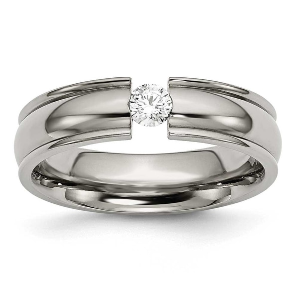 Chisel Grooved Polished Titanium and 1/4ct. Diamond Ring (6.0 mm)