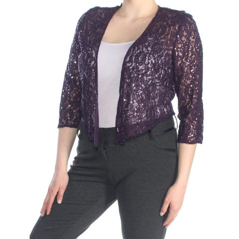 ALEX EVENINGS Womens Purple Sequined Lace Evening Jacket Size 16
