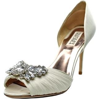Badgley Mischka Scarlett Women Peep-Toe Canvas Ivory Heels