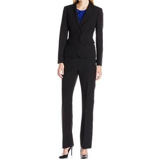 Le Suit NEW Black Blue Top 12 Crosshatch Three-Piece Pant Suit Set