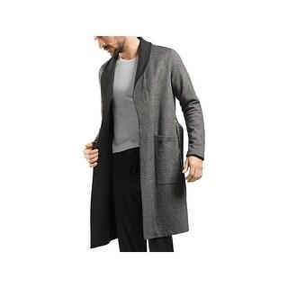 Hanro Mens Davide Long Robe Reversible Herringbone - S
