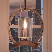 """Luxury Transitional Pendant Light, 10.5""""H x 10""""W, with Vintage Style, High-Grain Stained Wood Beam Design, Brushed Nickel Finish"""