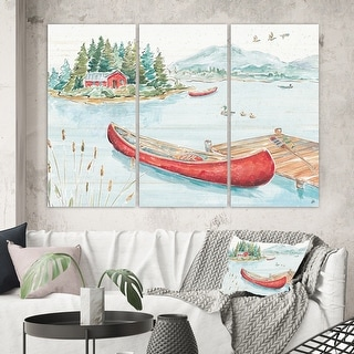 Link to Designart 'Lake House Canoes II' Lake House Canvas Art Similar Items in Matching Sets
