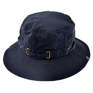 Fisherman Cotton Blends Outdoor Sport Wide Brim Summer Cap Fishing Hat Navy Blue