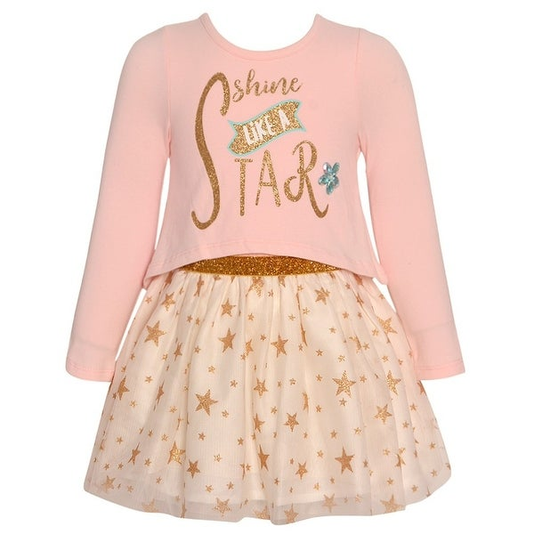 66e6fc4f84fc Shop Rare Editions Baby Girls Pink Gold Glitter Star Print Long Sleeve Dress  - Free Shipping On Orders Over $45 - Overstock - 25489877
