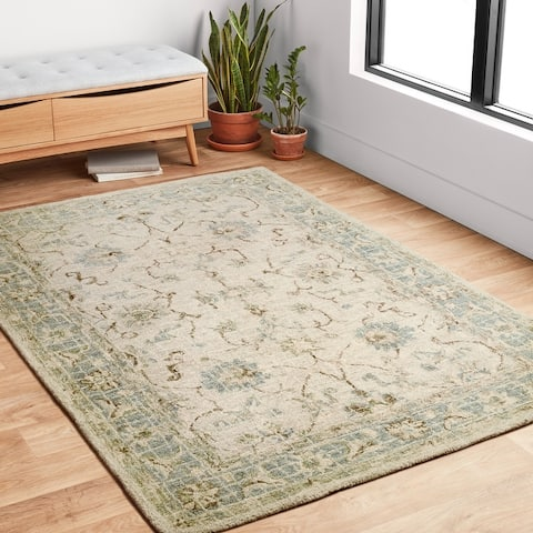 Alexander Home Transitional Scroll Hand-hooked 100% Wool Rug
