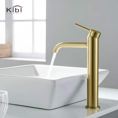 Luxury Solid Brass Single Hole Bathroom Vessel Sink Faucet
