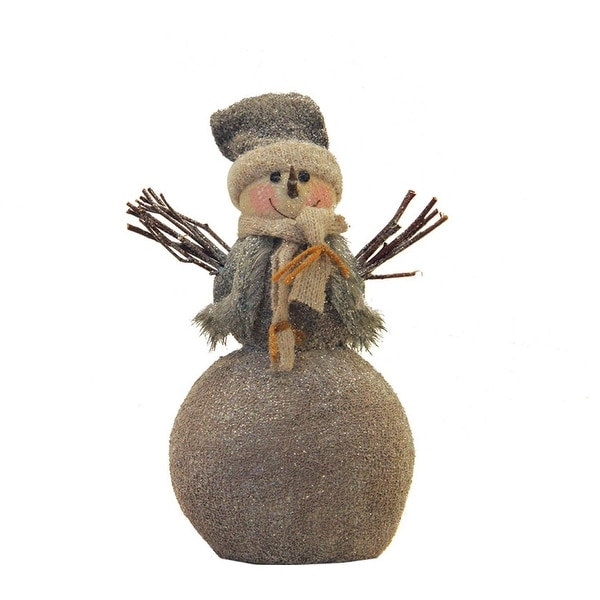"11.5"" Glittered Snowman with Twig Arms Christmas Tabletop Decoration"