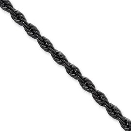 Stainless Steel IP Black-plated 4.0mm 18in Rope Chain (4 mm) - 18 in