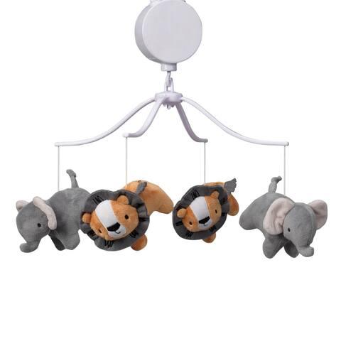 Bedtime Originals Jungle Fun Gray/Orange Elephant and Lion Safari Musical Baby Crib Mobile