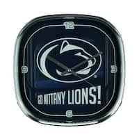Penn State University Nittany Lions Glass Face Wall Clock Chrome Finished Frame - navy