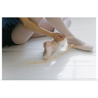 """""""Ballerina putting on pointe shoes"""" Poster Print"""