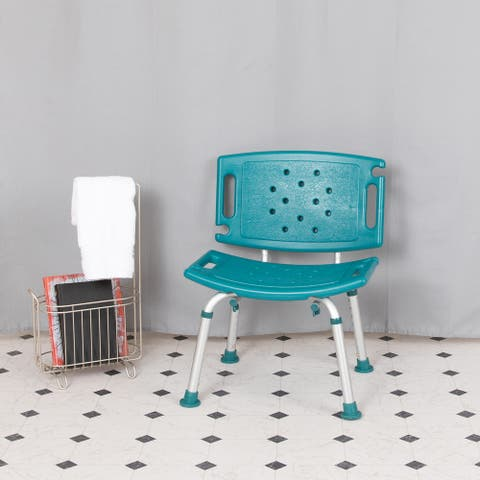 Tool-Free 300 Lb. Capacity, Adjustable Teal Bath & Shower Chair with Large Back