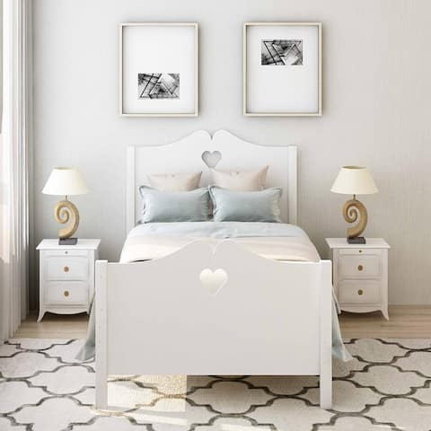 Bed Frame Twin Platform Bed with Wood Slat Support and Headboard