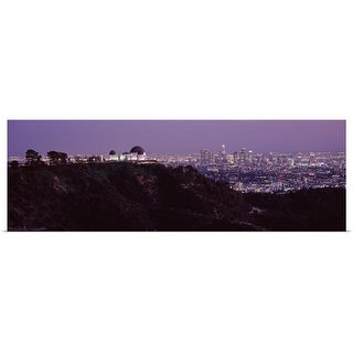 """Aerial view of a cityscape Griffith Park Observatory Los Angeles California"" Poster Print"