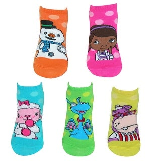 Disney Doc McStuffins Girls No Show Socks (5 Pair Pack) - medium 6-8.5