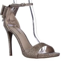 ZIGI Remi Ankle Strap Bow Heel Dress Sandals, Champagne