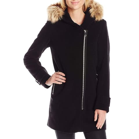 Marc York Black Paloma Women's 4 Wool Asymmetric Hooded Coat