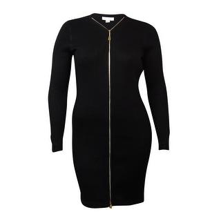 Calvin Klein Women's Solid Zipper Front Sweater Sheath Dress