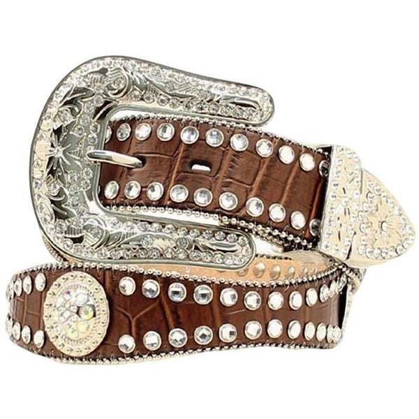 Blazin Roxx Western Belt Womens Crystal Scallop Gator Brown