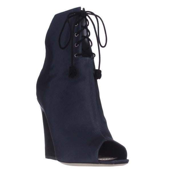 Dior Brooklyn Lace-Up Peep-Toe Ankle Booties, Midnight - 9 us / 39 eu