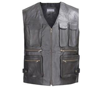 Men Leather Motorcycle Biker Tactical Vest 8 pockets Black
