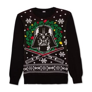 Star Wars Black Mens Size XL Holiday Crewneck Pull-Over Sweater