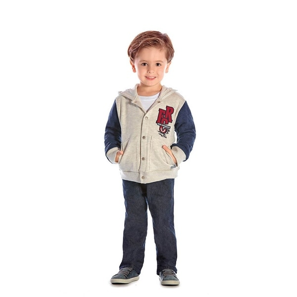 Toddler Boy Outfit Hoodie Jacket and Jeans Set Pulla Bulla Size 12 Months